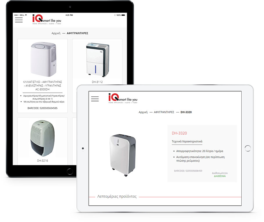 IQ-Smart products on tablets